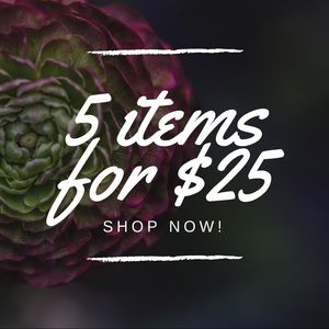 All items 5 for $25. Items added weekly